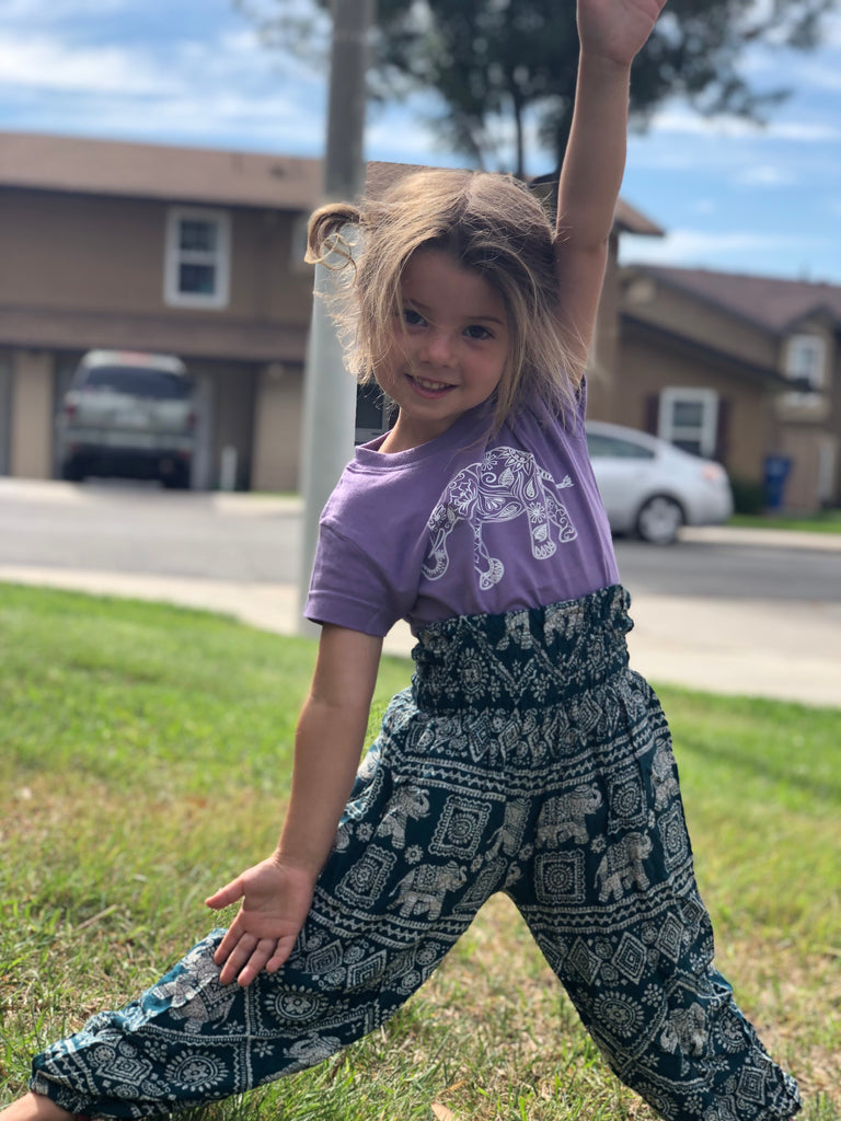 Kids Eggplant Mandala Harem Pants - Inspired by Stephanie Rose
