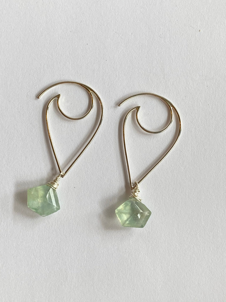 Sterling Lotus Petal Earrings with Prehnite Gems - Inspired by Stephanie Rose