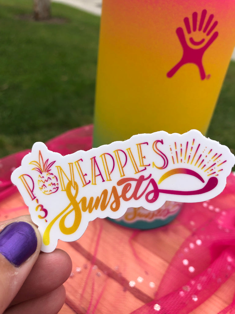 Pineapples & Sunsets Water Bottle Sticker - Inspired by Stephanie Rose