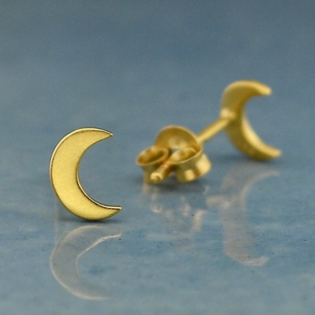 Moon Stud Earrings in 24K Gold Plate - Inspired by Stephanie Rose