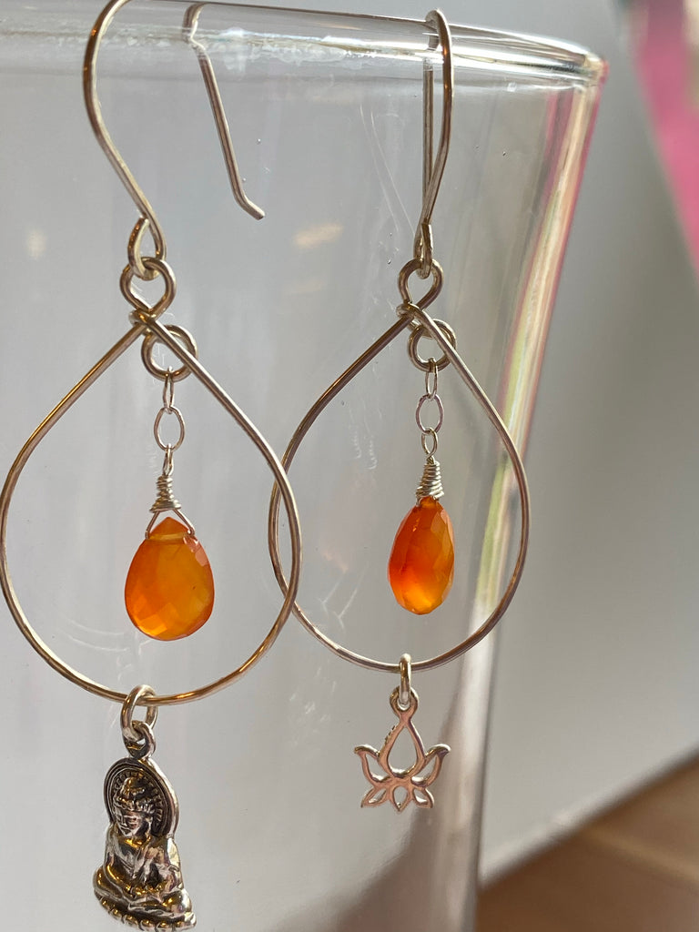 Buddha and Lotus earrings with Carnelian Gemstones - Inspired by Stephanie Rose