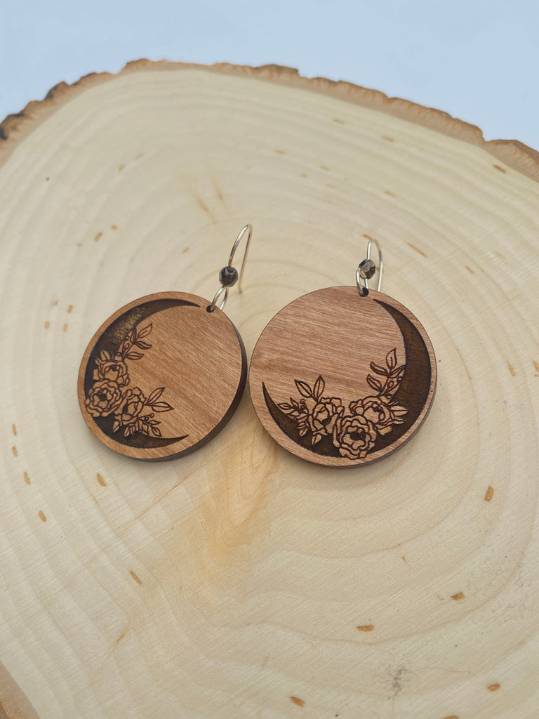 Boho Crescent Moon and Floral Wooden Earrings - Inspired by Stephanie Rose