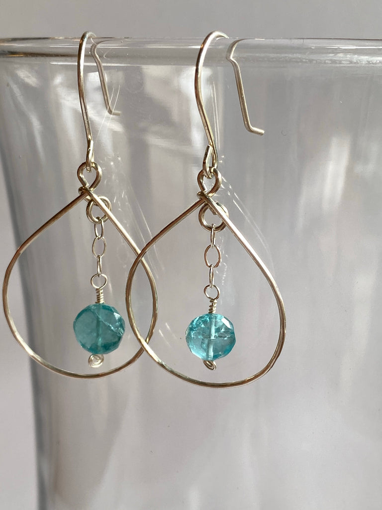 Sterling Silver Apatite Gem Hoops - Inspired by Stephanie Rose