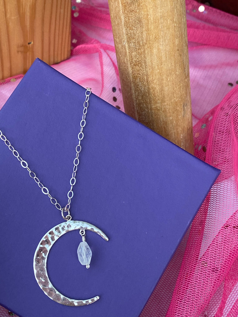 Hammered Moon with Moonstone Necklace - Inspired by Stephanie Rose