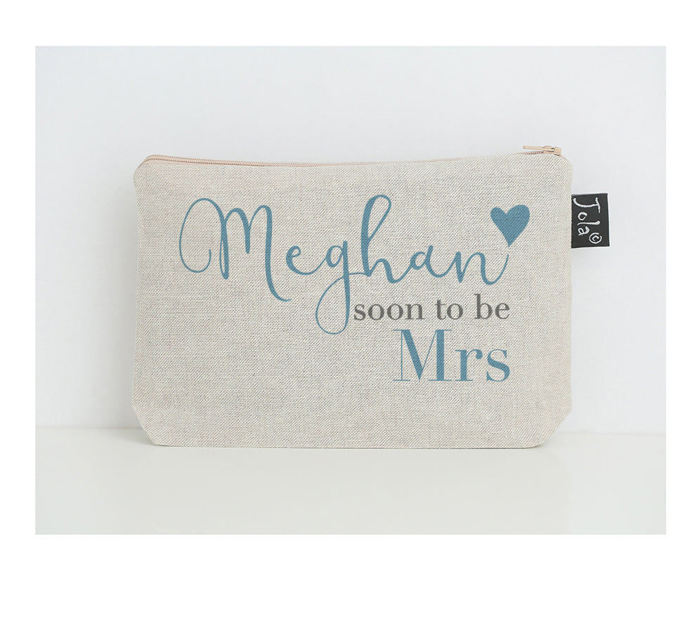Personalised soon to be Mrs make up bag small