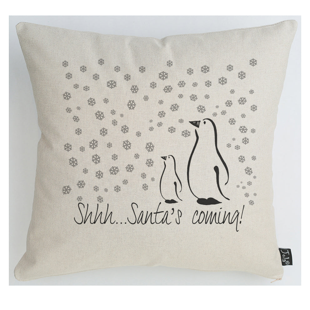 Shhhhh Sant's Coming cushion