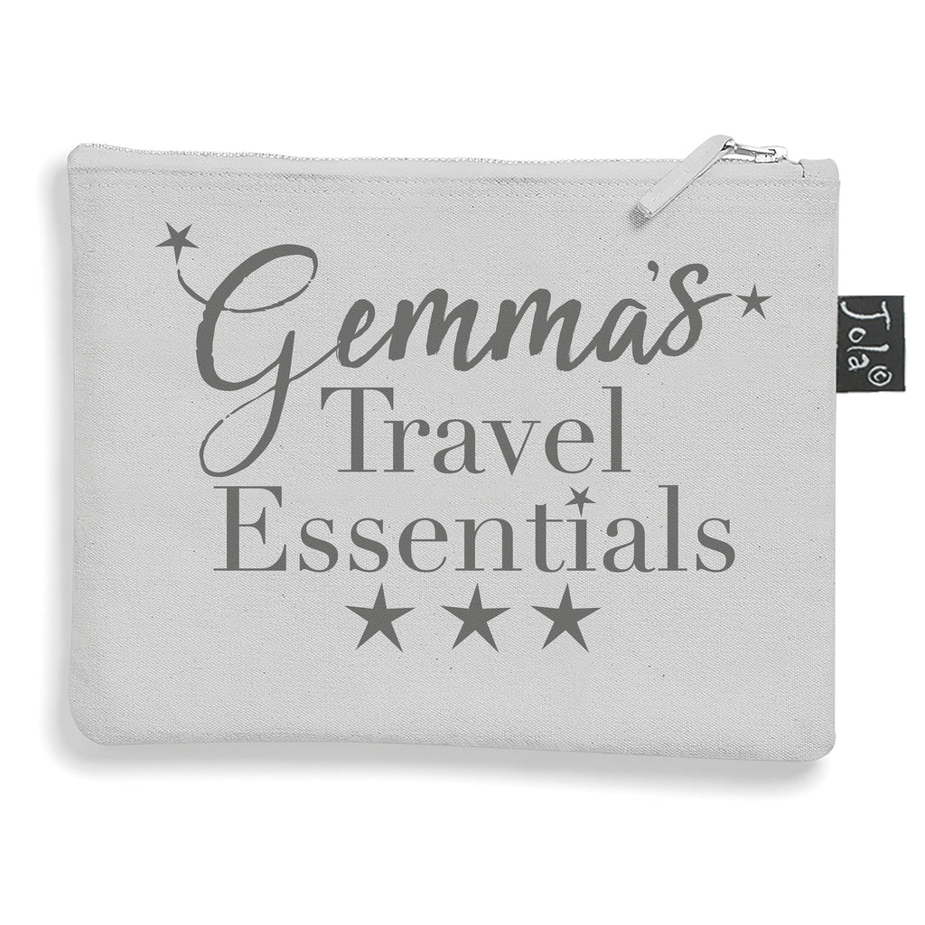 Personalised Travel essentials small make up bag grey