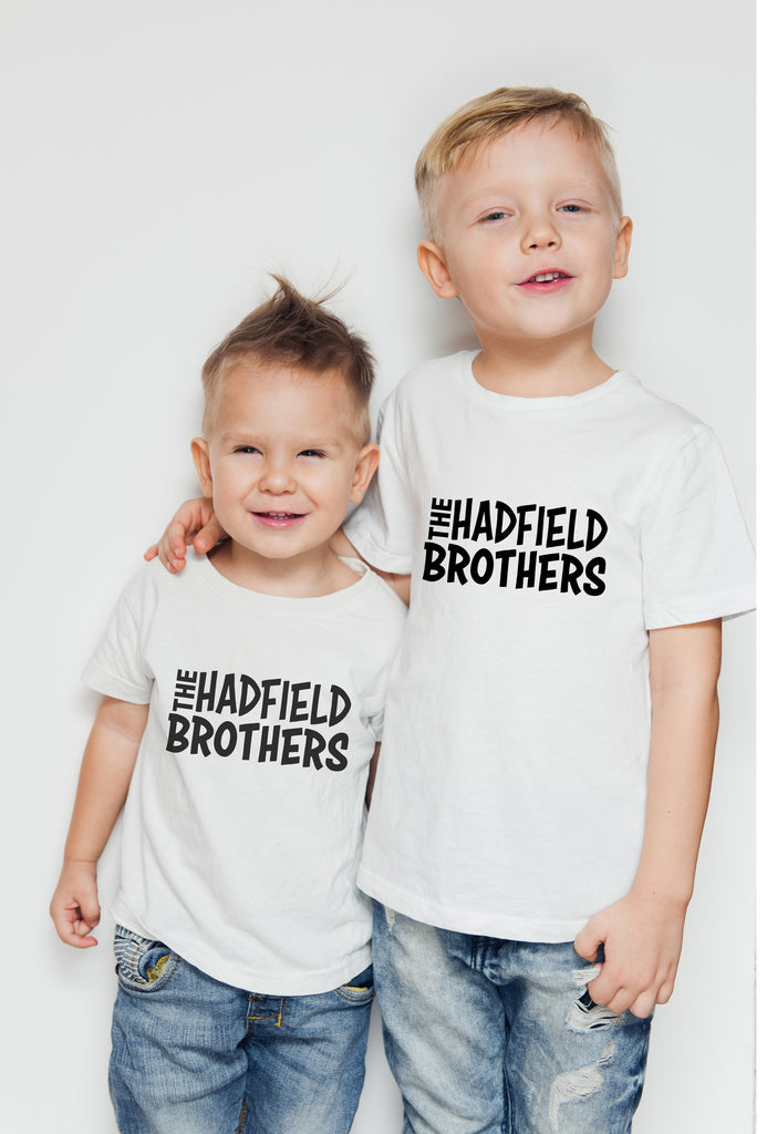Personalised Cotton Kids T shirt for Brothers