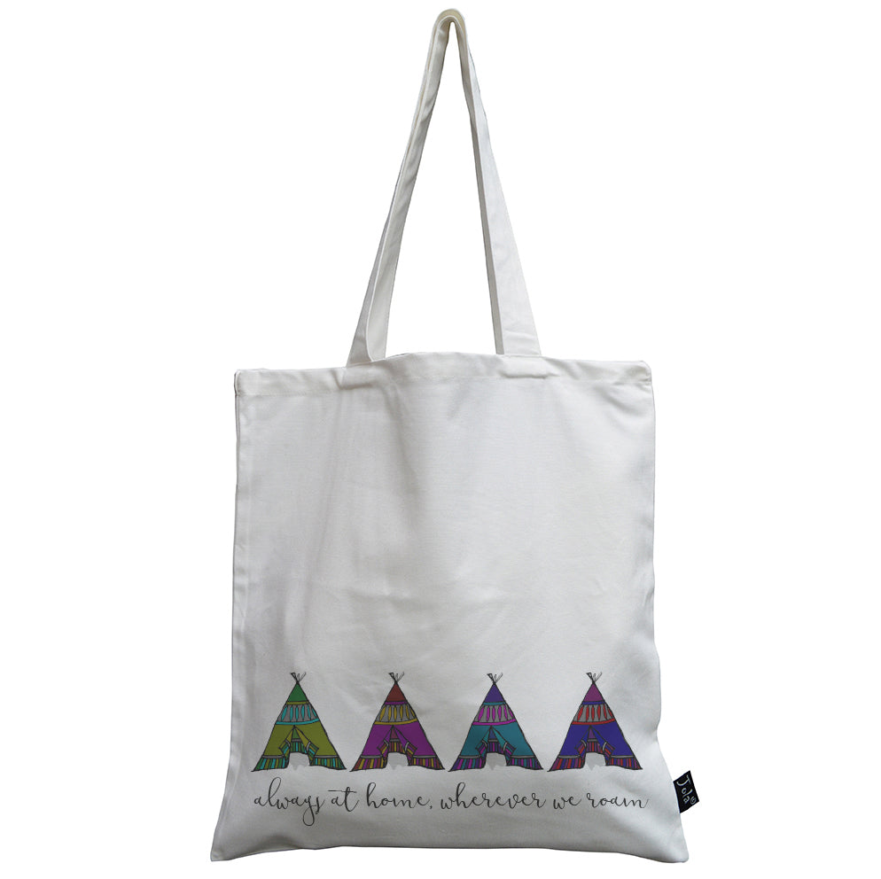 Wherever we roam 4 tents bright canvas bag