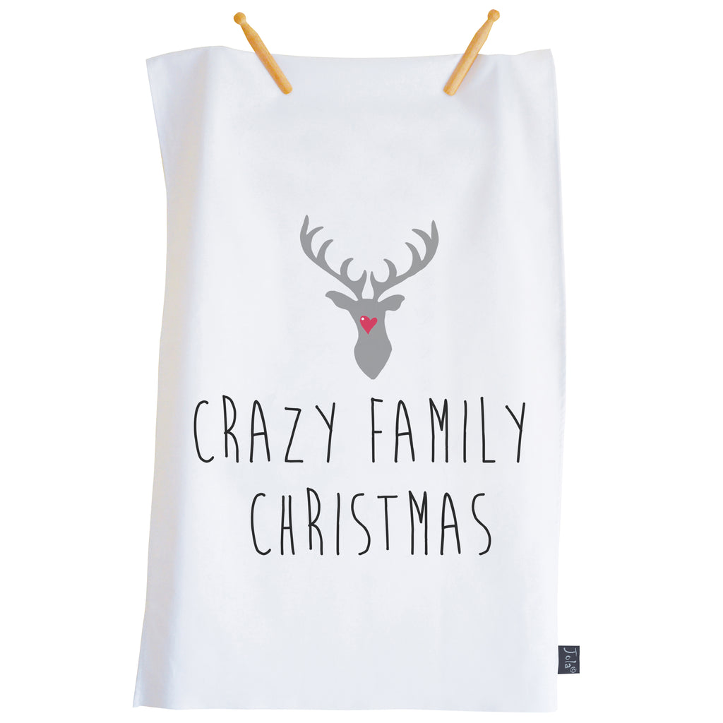 Crazy Family Christmas Reindeer Tea Towel