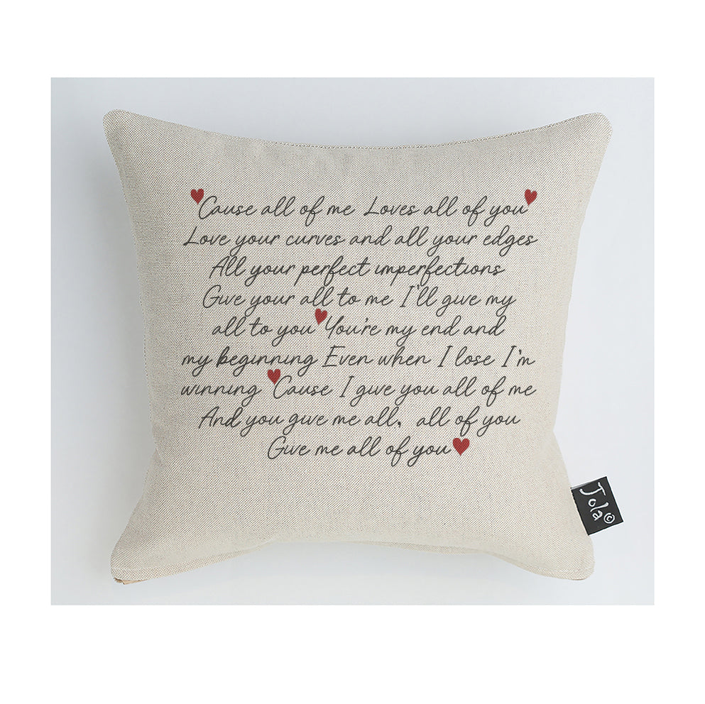 All of me Lyrics cushion
