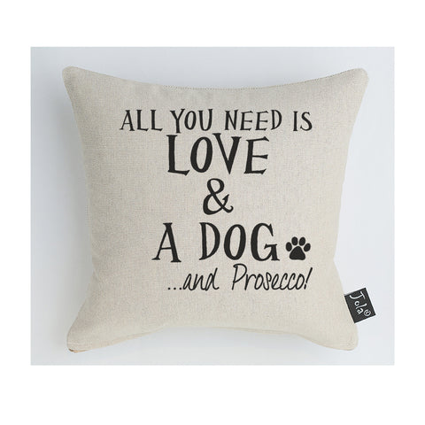 Love dog and prosecco cushion