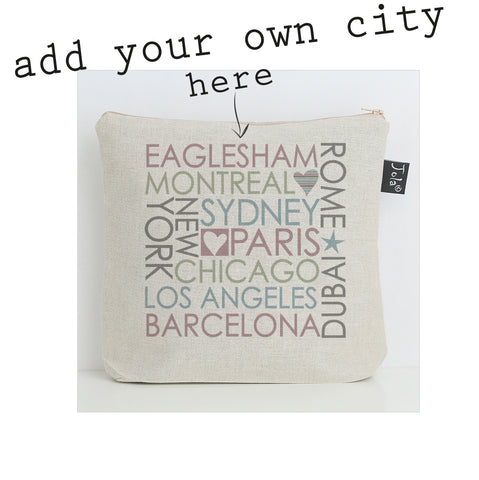 Personalised Block City wash bag