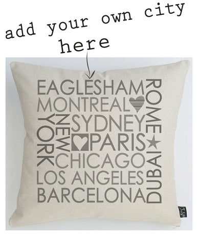 Personalised Block City cushion pastel