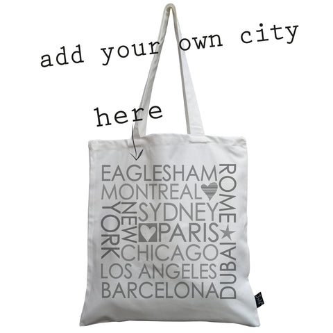 Personalised Block City canvas bag