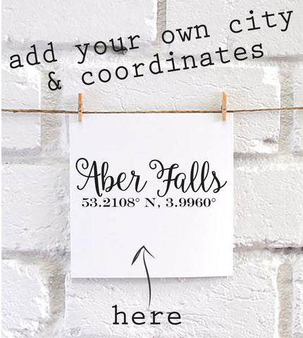 Personalised Coordinates City square card