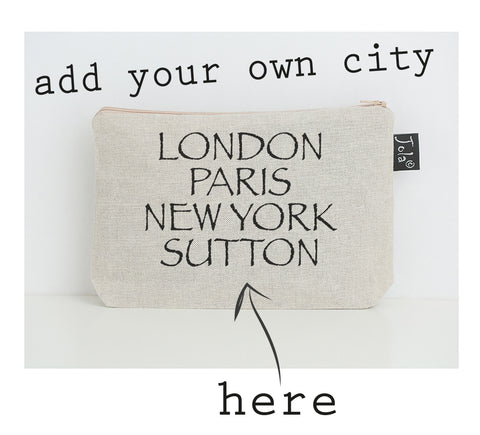 Personalised City Font 2 small Make up bag