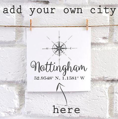 Personalised City Compass & Coordinates Card