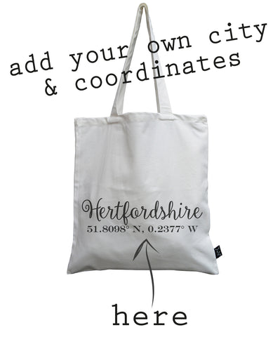 Personalised Coordinates canvas bag