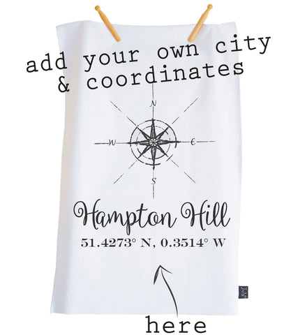 Personalised compass coordinates Tea Towel