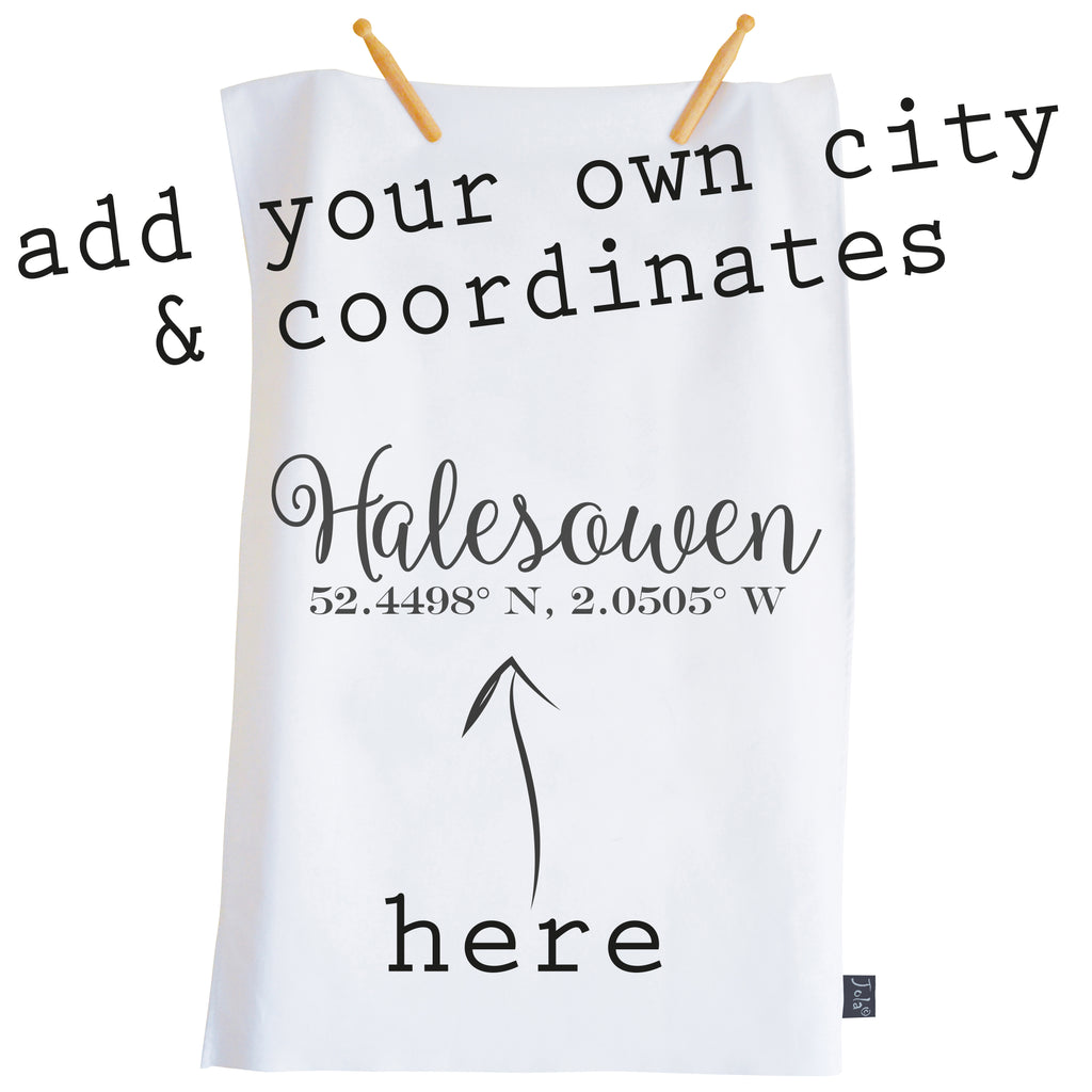 Personalised Coordinates Tea towel