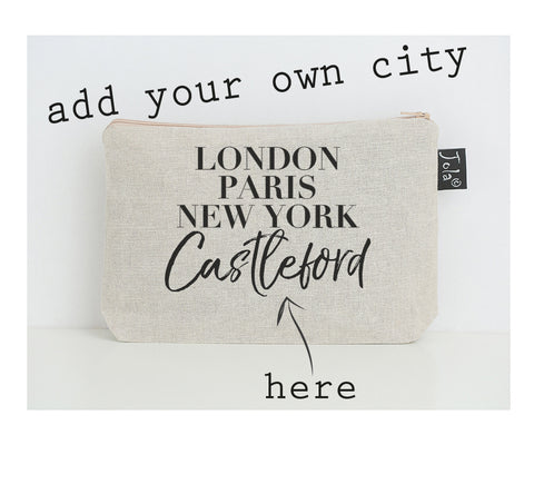Personalised City Vogue black small make up bag