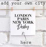 Personalised Vogue City square card