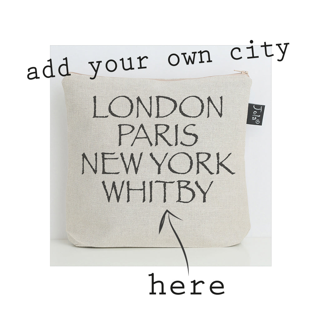 Personalised City Font 2 Wash Bag