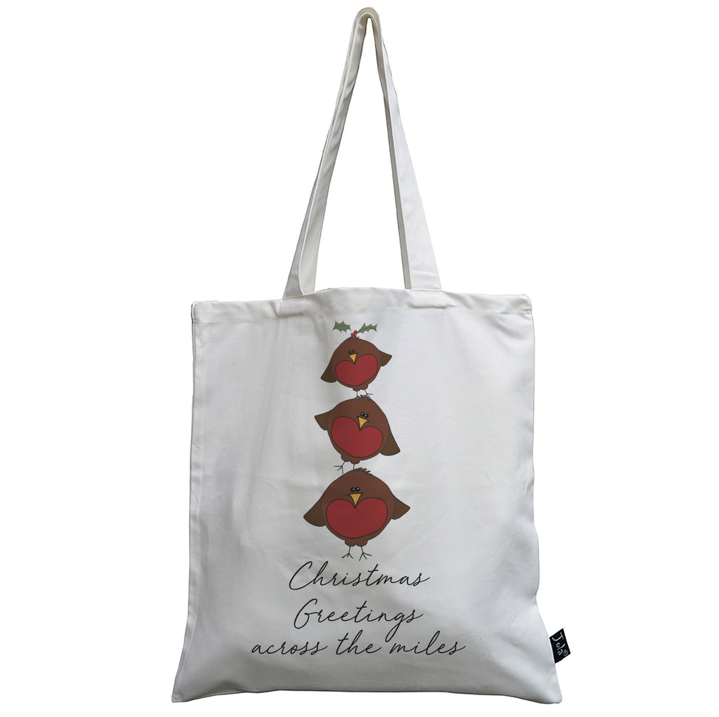 Christmas Greetings across the miles Robin Tower canvas bag