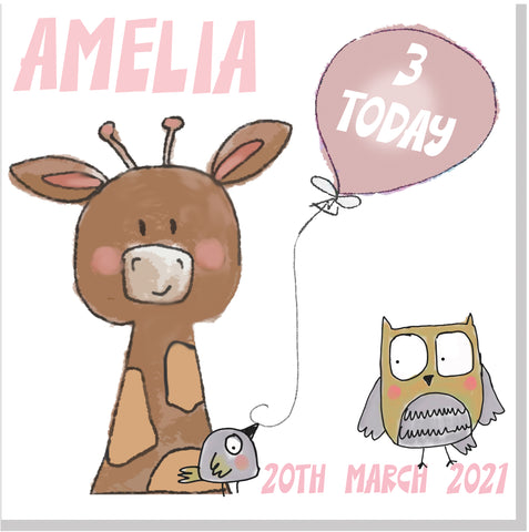 Personalised Birthday Giraffe Age square card