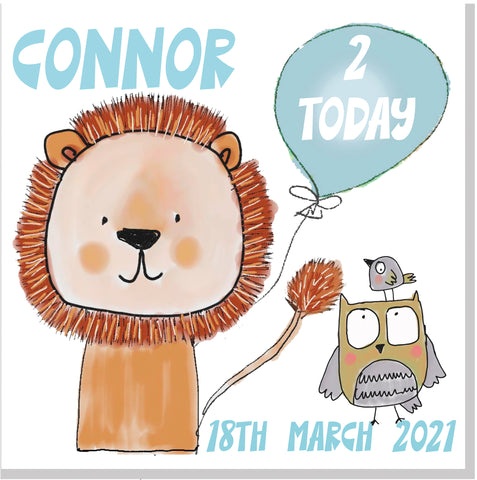 Personalised Birthday Lion Age square card