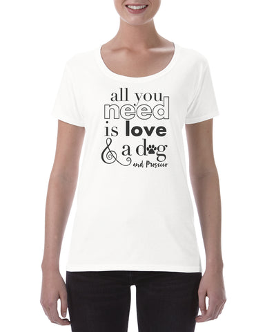 Cotton T Shirt All you need is love dog and prosecco