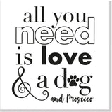 All you need is love dog & prosecco square card
