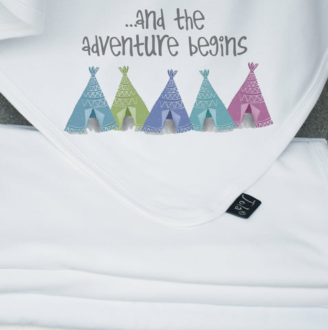 Adventure begins tents  Baby Blanket