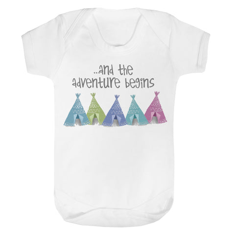 Adventure begins tents baby vest