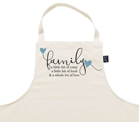 Family Crazy blue hearts Apron