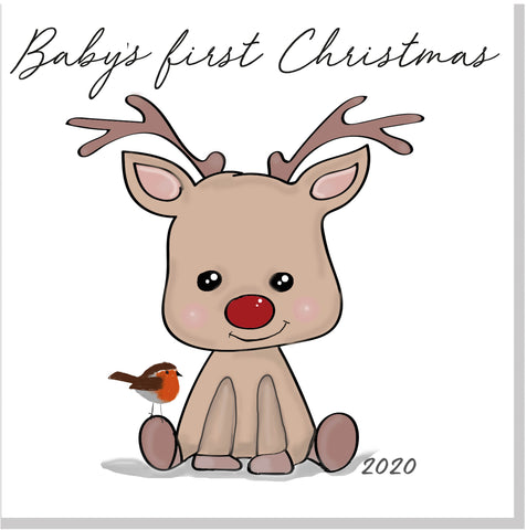 Baby's first Christmas Baby Reindeer square card