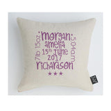 Personalised New Baby words Cushion