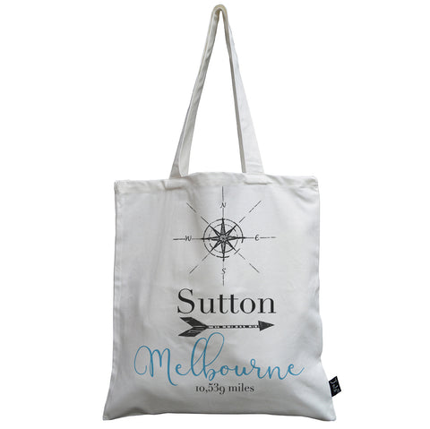 Personalised Compass Mileage canvas bag