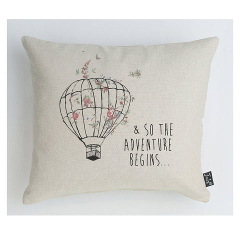 So let the adventure begin Balloon floral cushion