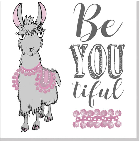 Beyoutiful Llama square card