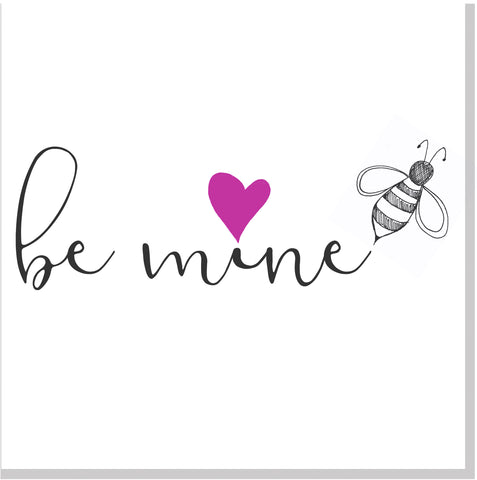 Be mine pink heart square card
