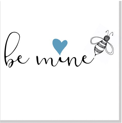 Be mine blue heart square card