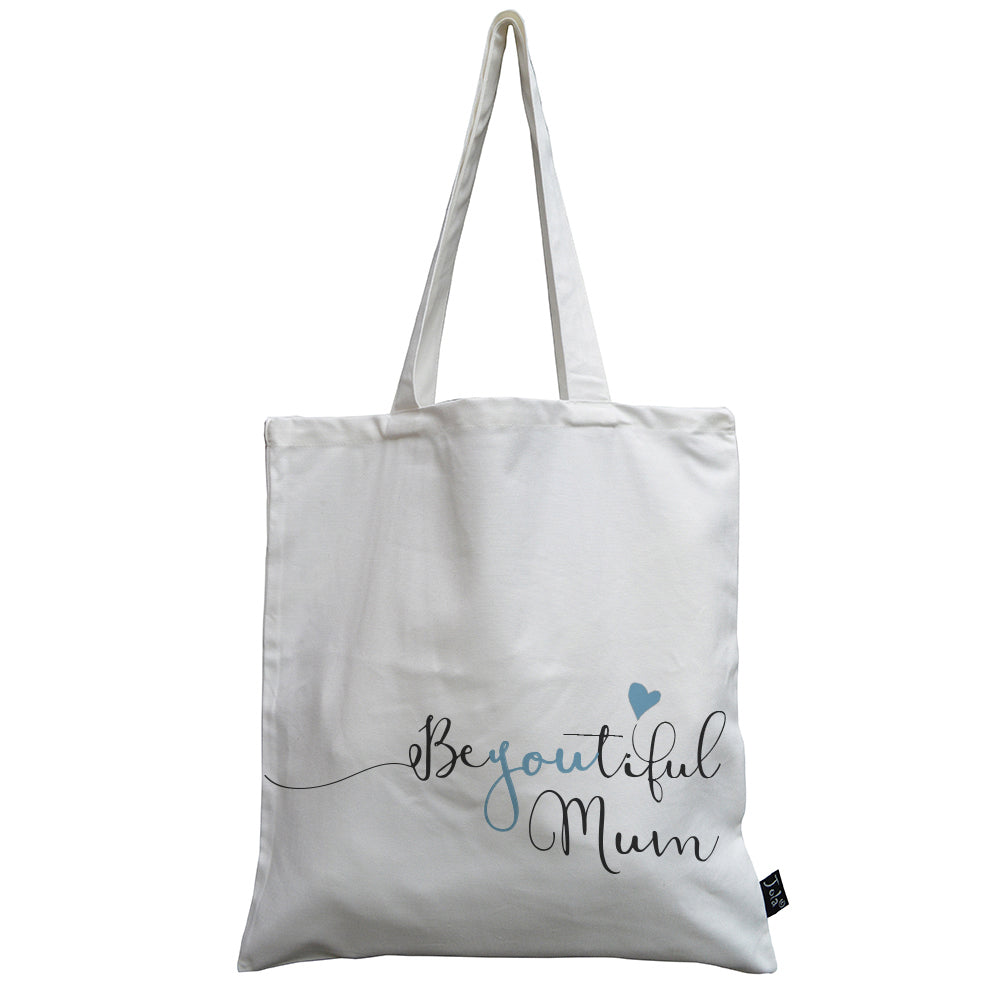 BeYouTiful Mum blue canvas bag