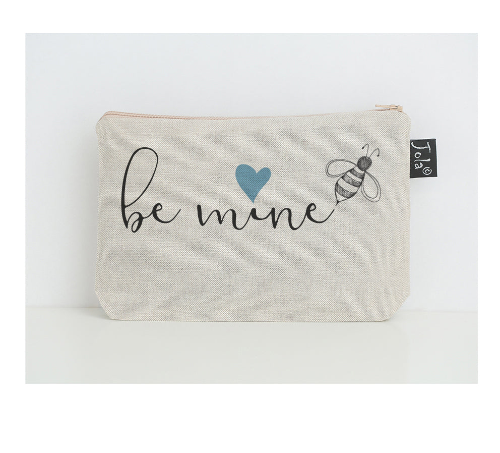 Bee mine blue heart small make up bag