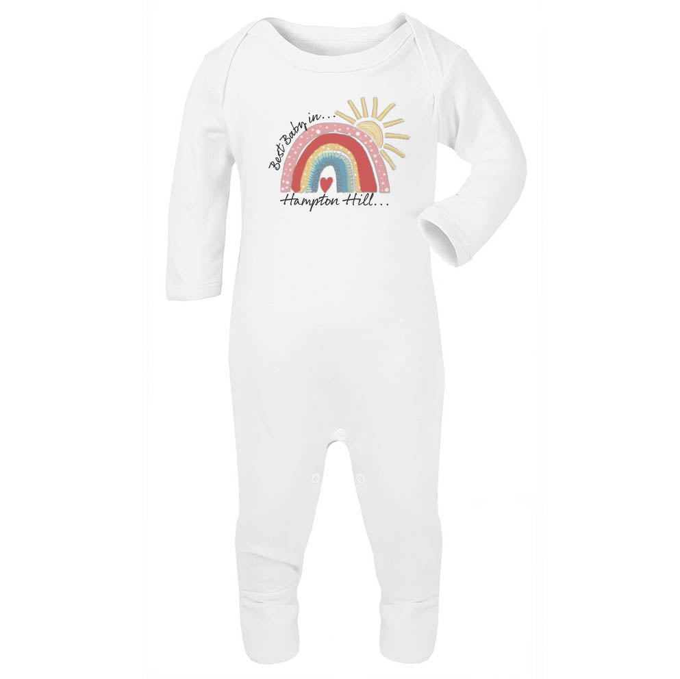 Personalised City Best Baby Rainbow Babygrow