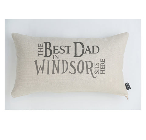 The Best Dad sits here personalised cushion