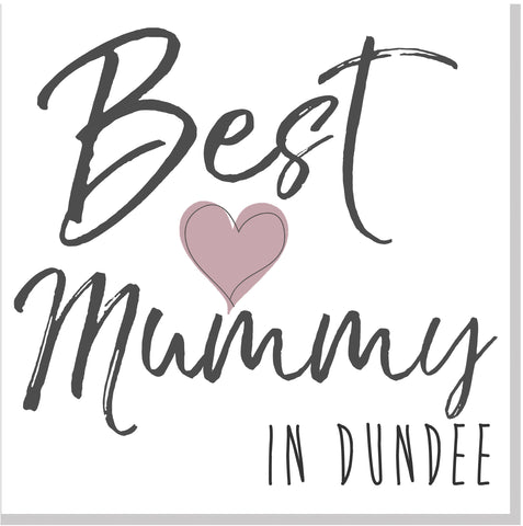 Personalised Best Mummy City Blush heart square card