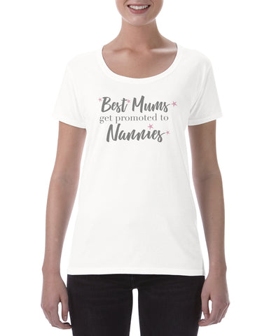 Cotton T Shirt Best Mums get promoted to Nannies pink stars
