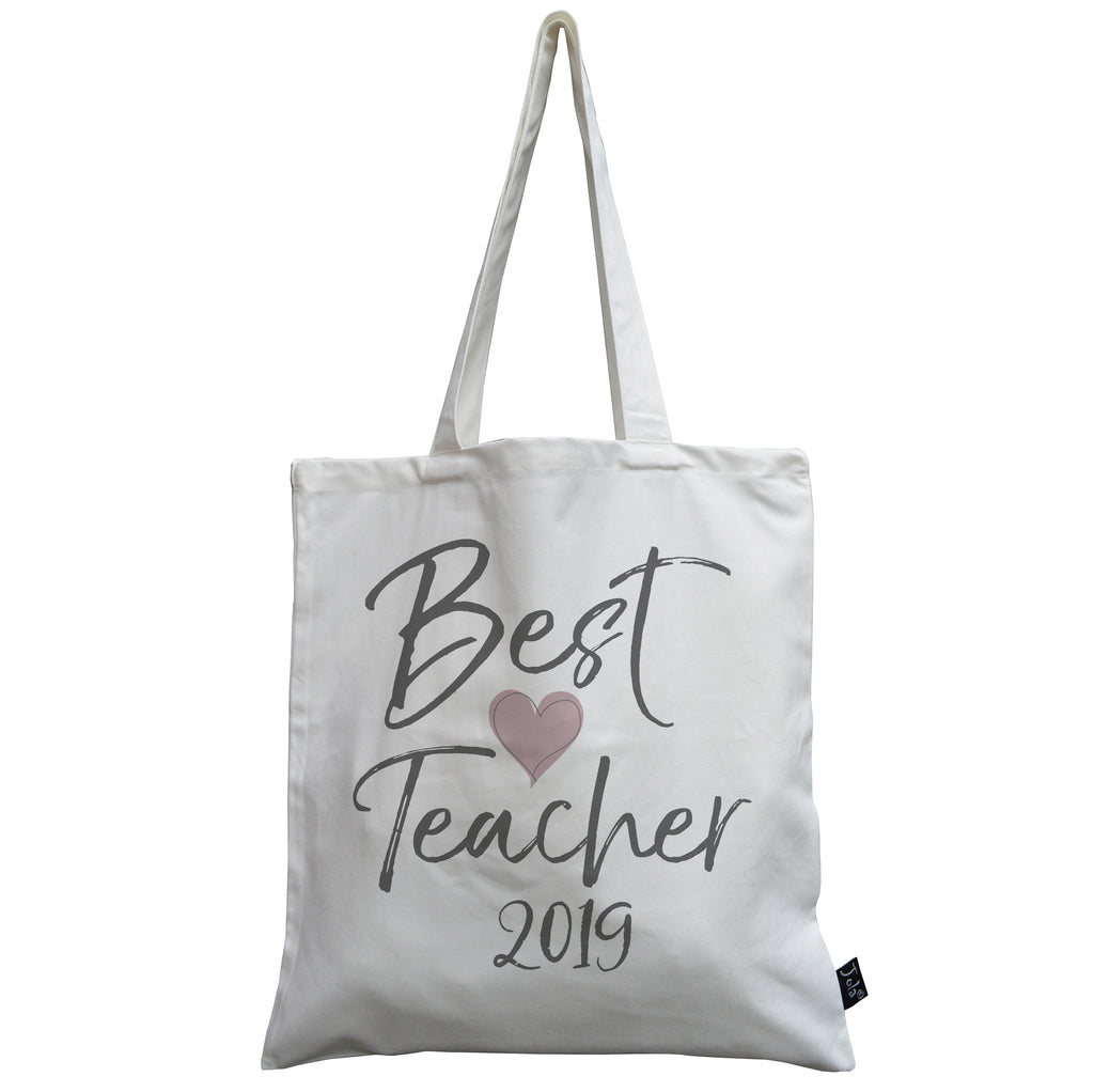 Best Teacher pink heart 2019 canvas bag